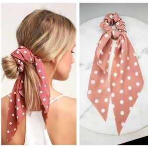 5 for $25 Pink and White Hair Scarf Scrunchies